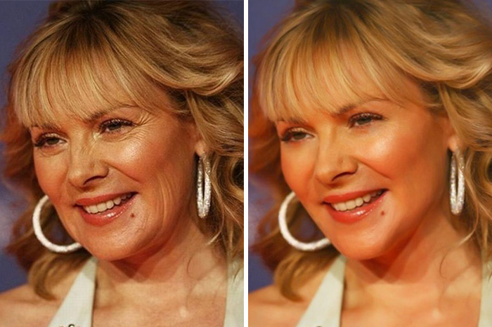 20 Before & After Images Of Celebs Reveal Society's Unrealistic Standards Of Beauty - Kim Cattrall