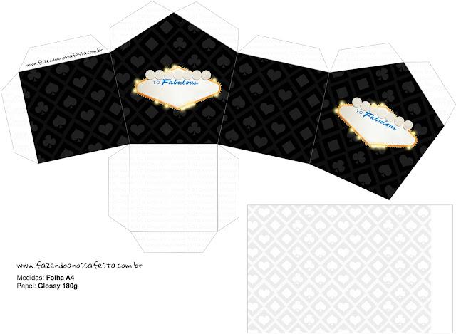 Caja Invitacion para Imprimir Gratis de Fiesta de Las Vegas.