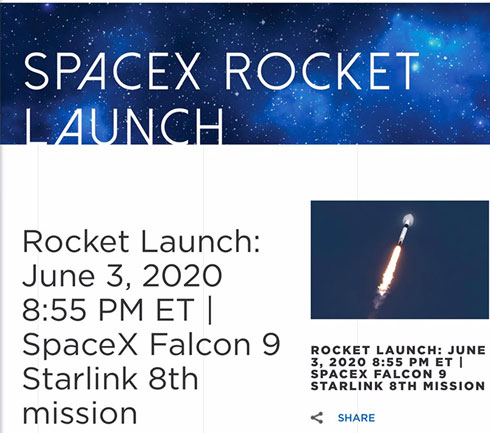 Next Starlink satellite launch Wednesday, June 3, 2020 (Source: kennedyspacecenter.com)