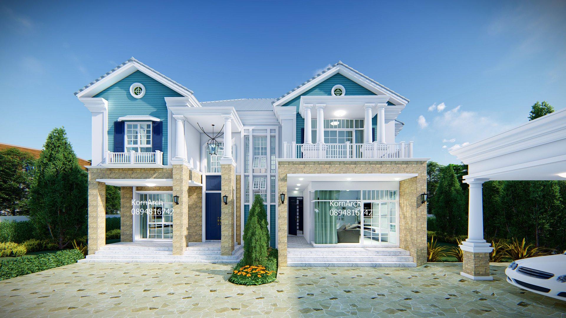 แบบบ้าน2ชั้น American luxury style เจ้าของอาคาร คุณสิทธ์ สถานที่ก่อสร้าง แม่สาย จ.เชียงราย