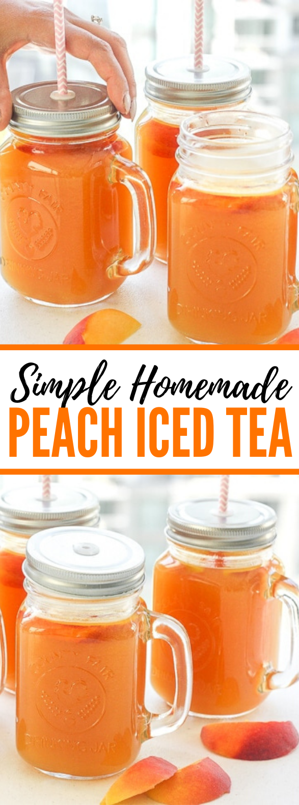 SIMPLE HOMEMADE PEACH ICED TEA #drinks #summerday