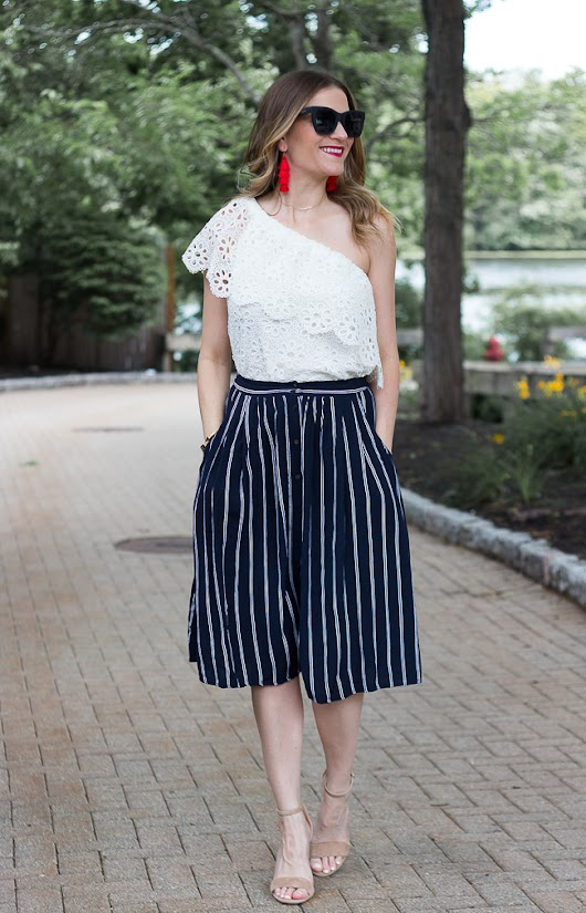 Stripe Midi Skirt + What To Wear For July 4th