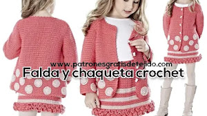 Falda y chaqueta para nenas a crochet | Patrones e instrucciones