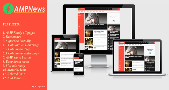 AMPNews AMP HTML Blogger Template