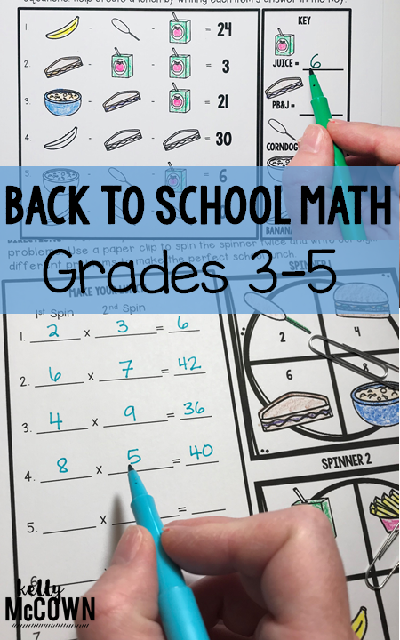 Kelly Mccown  Back To School Elementary Math Activities