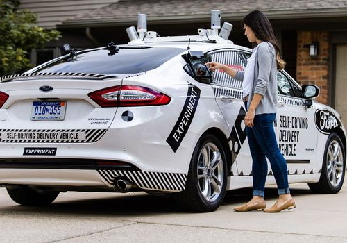 Tinuku Domino's and Ford test autonomous car pizza delivery