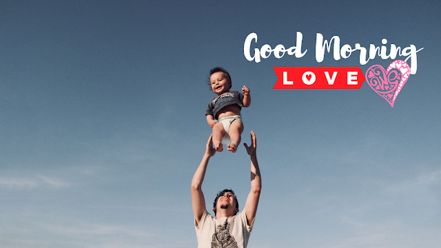 Happy Jumping Baby with Father Good Morning Images