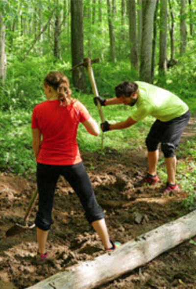 Ace Adventure Resort offers free cabin overnights and mountain biking in exchange for trail maintenance sweat equity