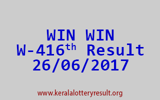 WIN WIN Lottery W 416 Results 26-6-2017