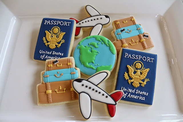 travel-themed cookies