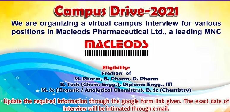 Diploma, ITI, B.Pharm, M.Pharm, D.Pharm, B.Tech,  M.Sc Online Campus Drive For Macleods Pharmaceutical  Ltd