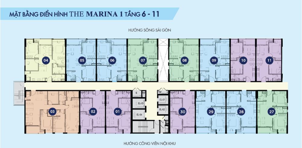 Mặt bằng điển hình The Marina 1 - River City tầng 6 - 11