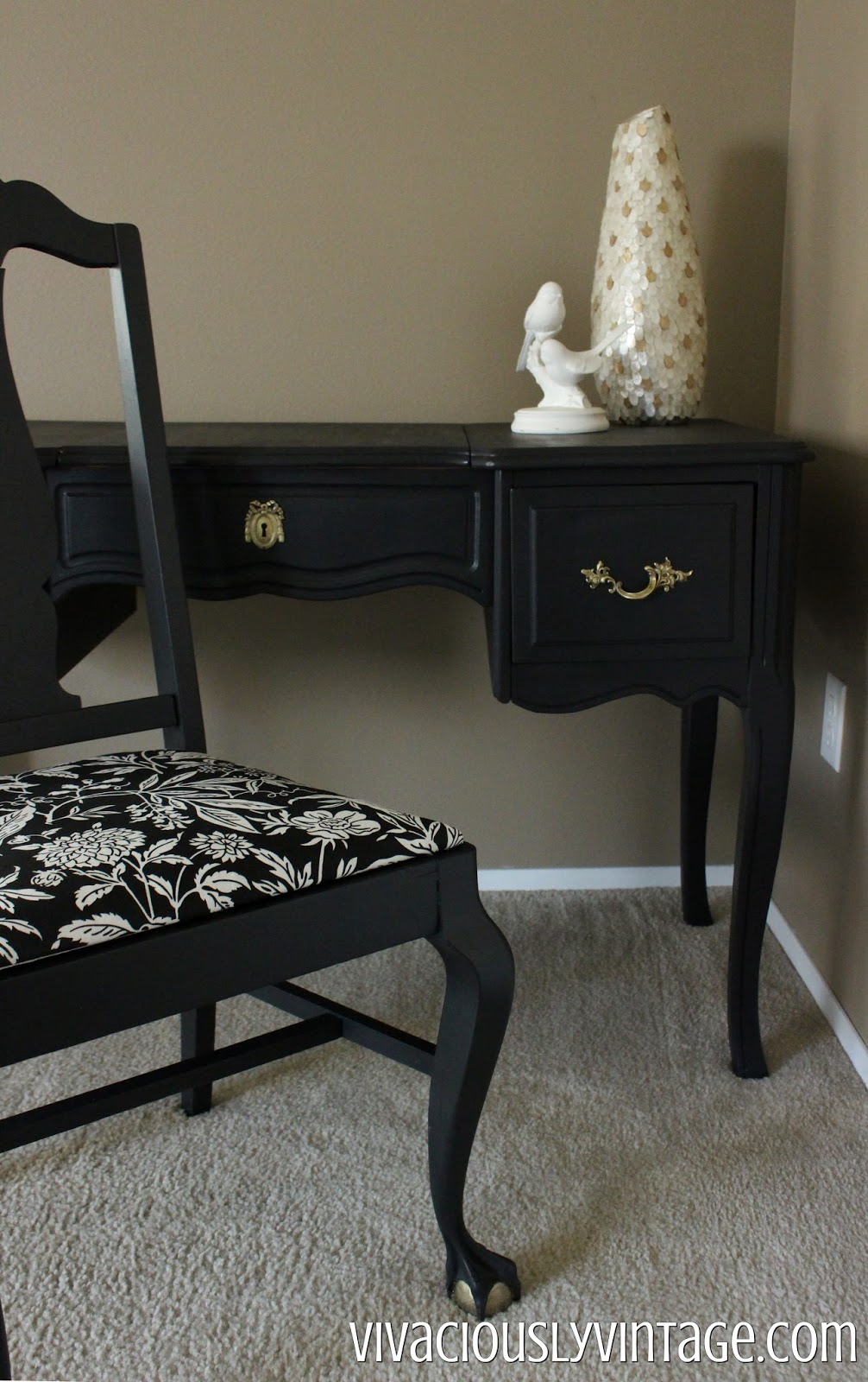 black and coral french providential vanity and chair