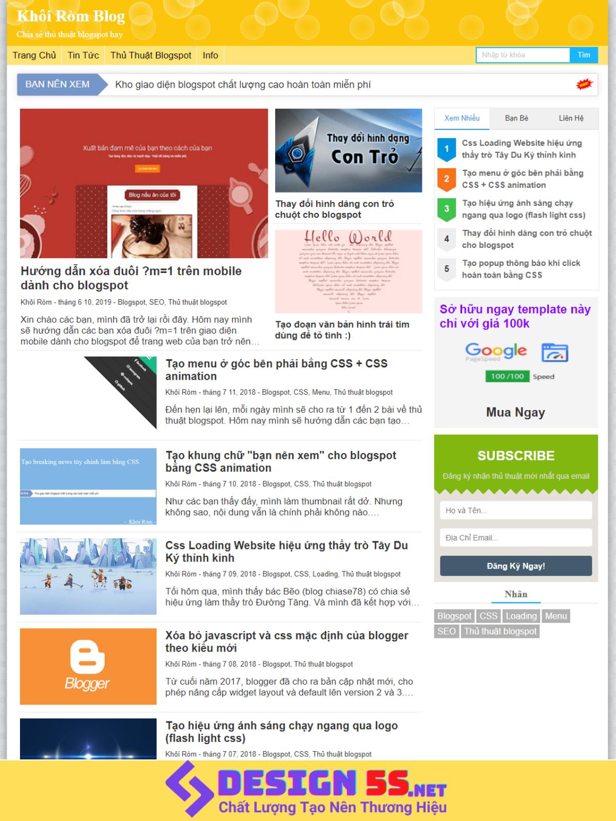 Super Fast Load Bloggger Template v2.0, Tải Nhanh