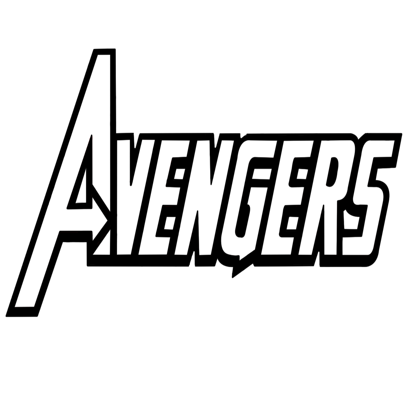 Download Avengers Logo Drawing | Avengers Logo Coloring/Drawing Page | Outline Vector | Printable Cartoon ...