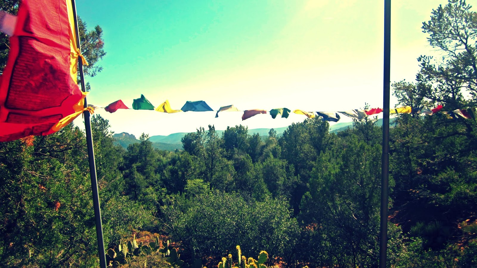 Colorful Prayer Flags at The Stupa of Sedona, Arizona in the Heart of the Desert