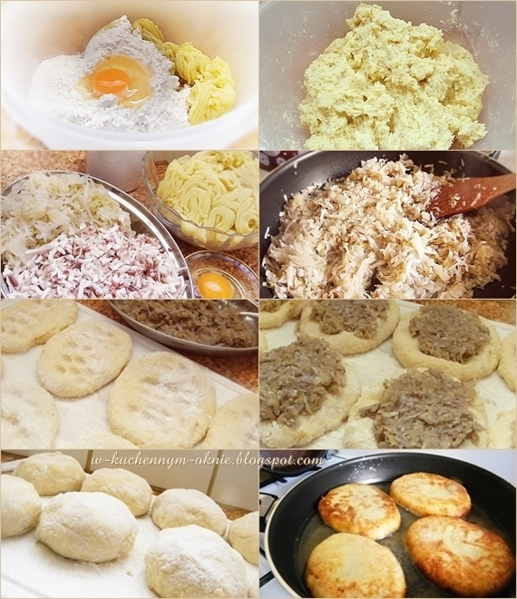 smaczne danie jarskie, nadziewane placki, krokiety ziemniaczane z pieczarkami i kapustą