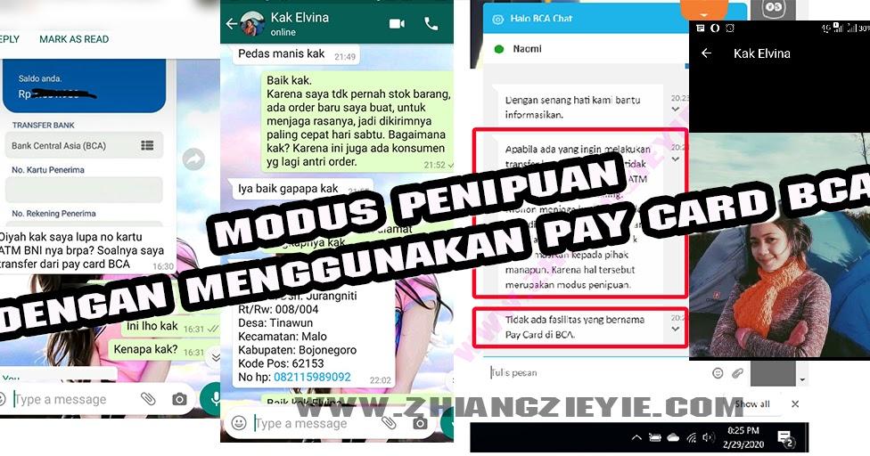 Modus Penipuan Dengan Menggunakan Pay Card Bca Zhiang Zie Yie