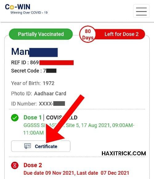 covid-19 vaccination certificate download pdf