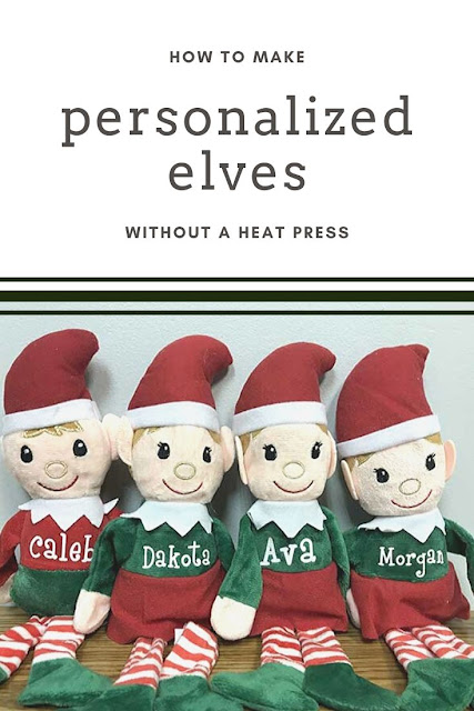 How to make personalized Christmas elves without a heat press. Cut vinyl with your Cricut or Silhouette.  This cute Christmas elf and be on the shelf or personalized with a child's name and given as a doll.  Cute craft idea or decorations to make for yourself or as a handmade DIY gift. #christmas #vinyl #elf