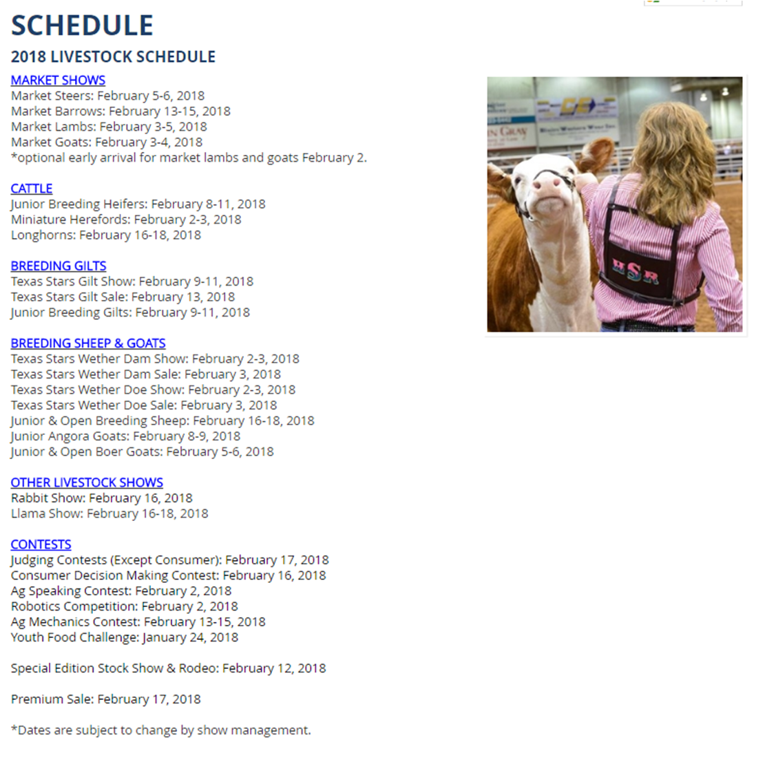 Travis County 4-H: San Angelo Stock Show & Rodeo Tentative