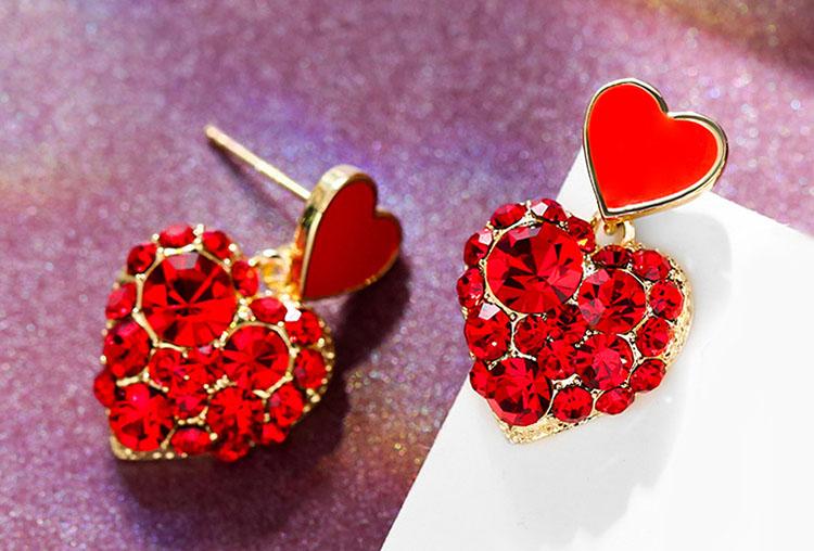 新年喜氣紅粉愛心水晶耳環
