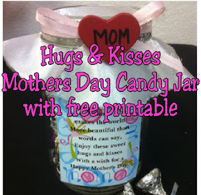 Tell mom how much you love her this Mother's Day with a jar full of chocolate hugs and kisses.  With this free printable and DIY candy jar, mom will feel like the best mom ever with you as her kid.