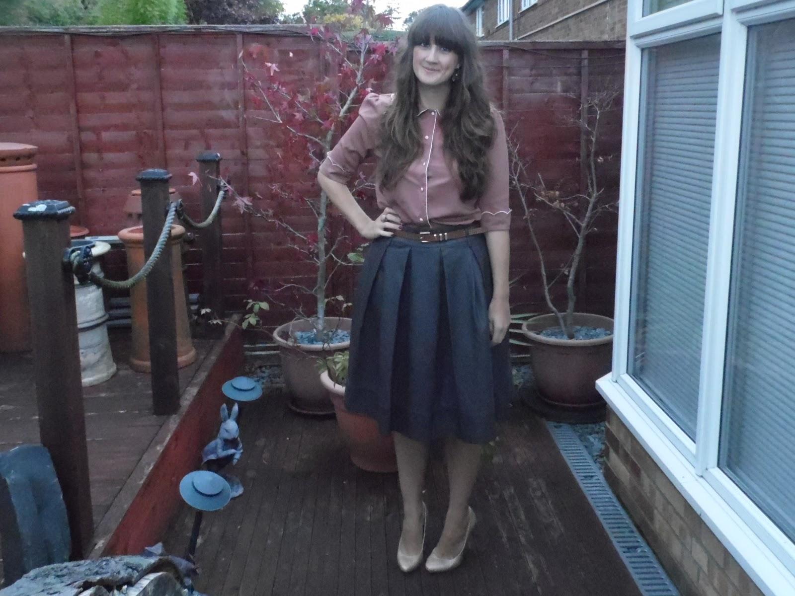 247dee80620 Brown scalloped blouse - Primark Brown midi pleather skirt - Primark Gold  glitter heels - Primark Pink and gold statement ring - Primark