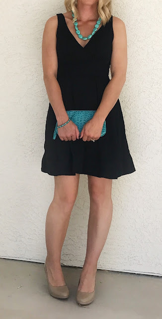 Thrifty Wife, Happy Life | LBD accessorized with turquoise