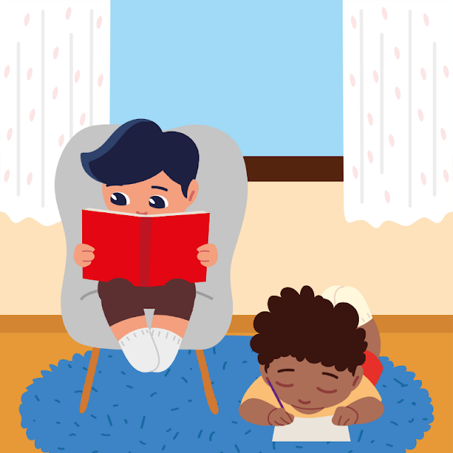Gambar Kartun Anak Belajar di Rumah (18)