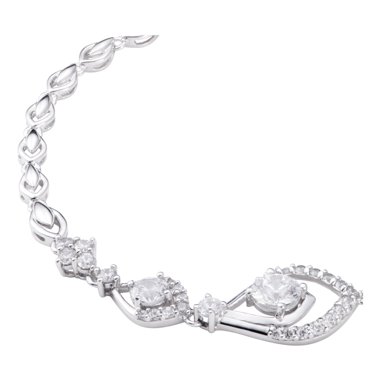 Lắc tay Vàng trắng 10K đính đá ECZ Swarovski PNJ XMXMW000032