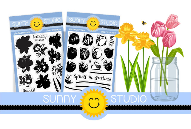 Sunny Studio Stamps: Daffodil Dreams & Timeless Tulips Photo-polymer Clear Stamp Set