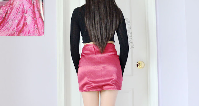Review of the Xtina silky maroon lace-up silk bodycon mini skirt from O-Mighty / Omighty / Omweekend.