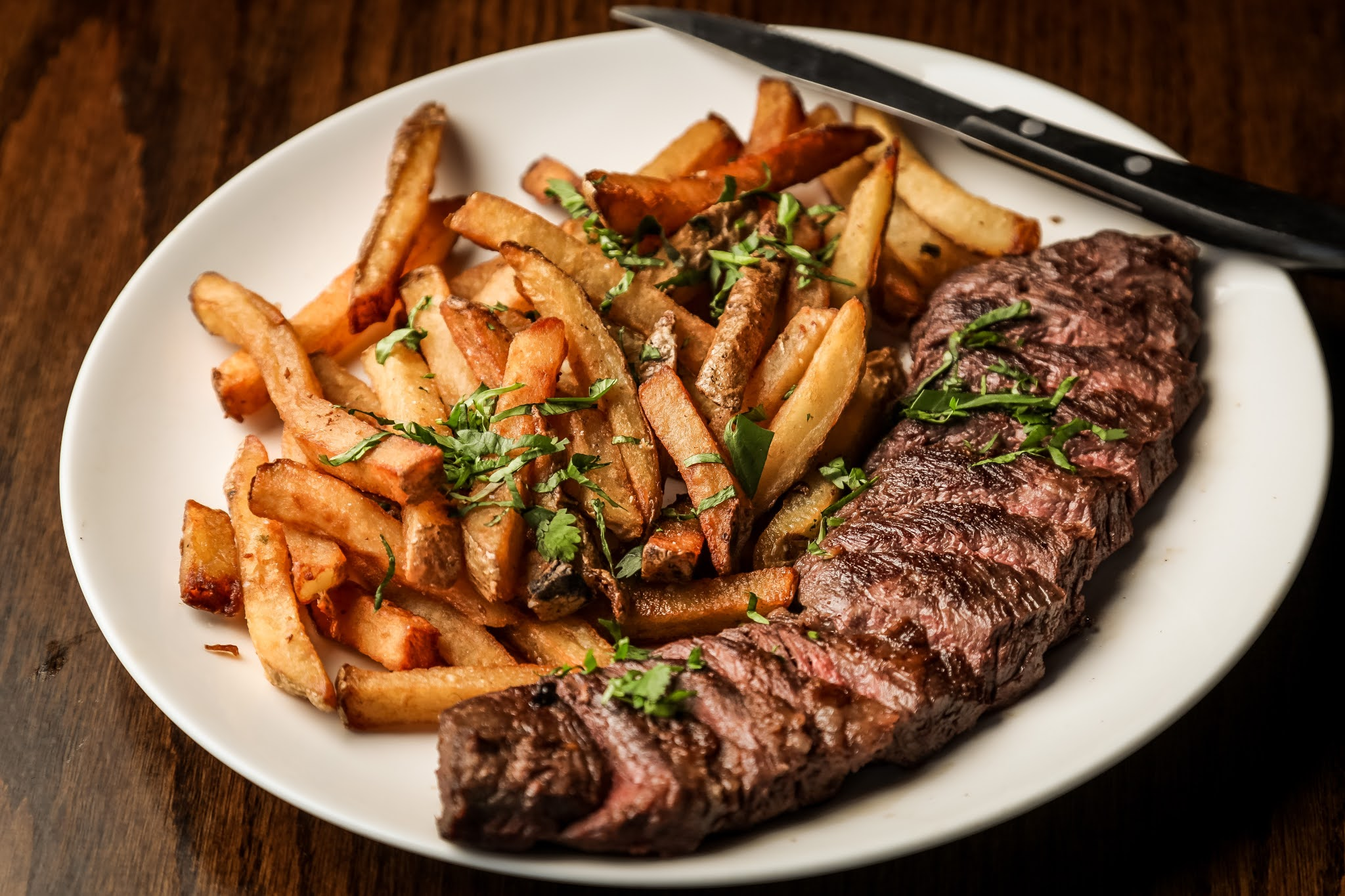 Steak and chips Valentine's Day meal