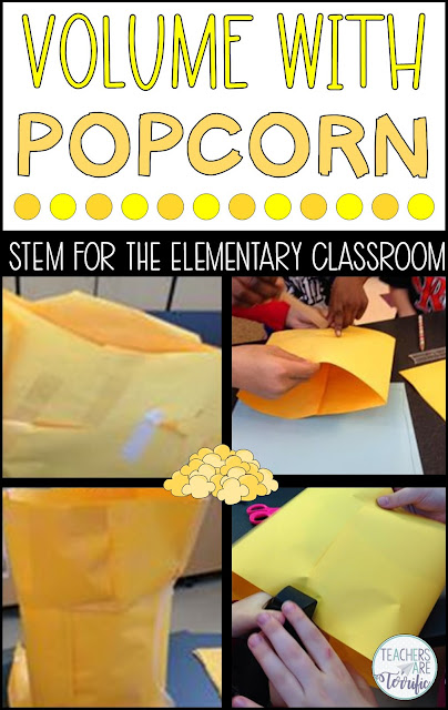 The famous Popcorn Challenge! In this STEM project, your elementary students must make a perfectly sized container for a specific amount of popcorn. When the containers are filled with the popcorn students have an eye-opening lesson about volume. Hands-on tasks are the perfect way to grasp this difficult concept. The resource includes a detailed Teacher's Guide, tons of hints, lab sheets with sample answers, photos, and more! #STEM #elementary #popcorn