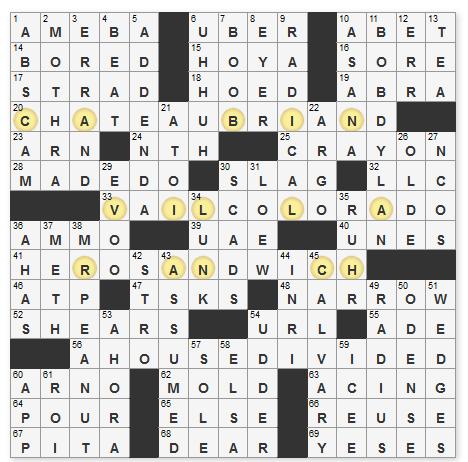 L A Times Crossword Corner Tuesday June 16 2020 Frank Virzi