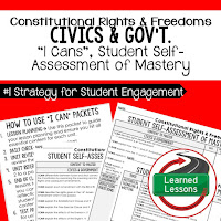 Constitutional Rights and Freedoms, Civics and Government I Cans, Self-Assessment of Mastery, Student Ownership of Learning