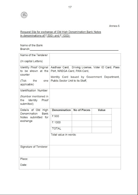 Request Slip for exchange of Old High Denomination Bank Notes in denominations of Rs.500/- and Rs.1000/-