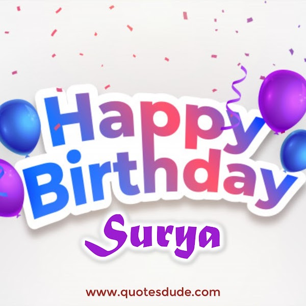 Happy Birthday Surya Cake, Images and Quotes