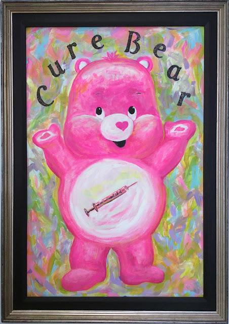 Cure bear painting Stefanie Girard