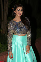 Nikki Galrani in Green Skirt  Top at Marakathamani music launch ~  Exclusive (51).JPG
