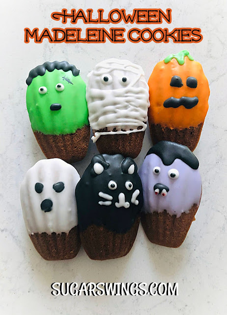 spooky halloween chocolate madeleine cookies