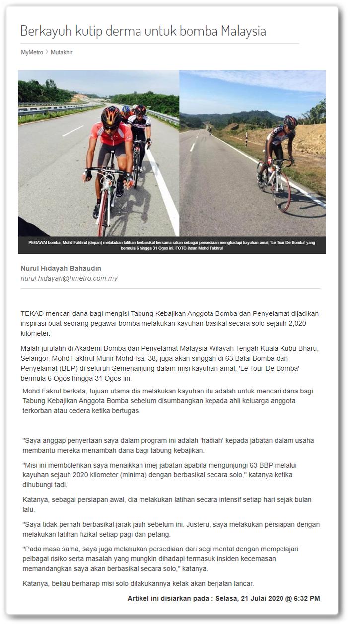 Berkayuh kutip derma untuk Bomba Malaysia - Keratan akhbar online MyMetro 21 Julai 2020