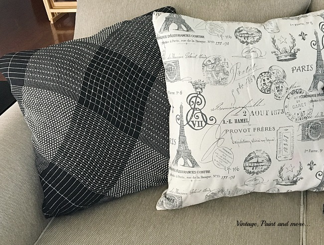 Vintage, Paint and more... using a plaid scarf as a pillow cover for fall decor