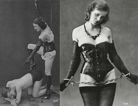 Jacques Biederer scena erotyczna podwójne zdjęcie po lewej dominacja mężczyzny, po prawej pani z lańcuchem