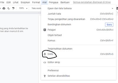 Cara memunculkan voice typing di google docs
