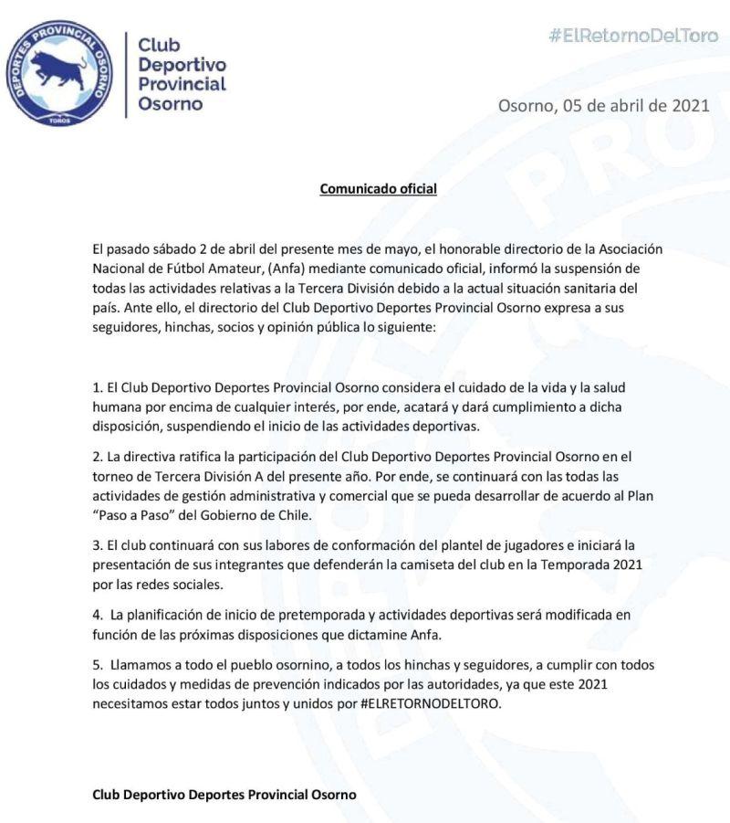 Comunicado de Provincial Osorno