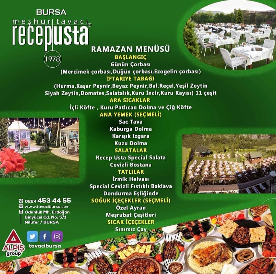 tavacı recep usta bursa iftar menüsü tavacı recep iftar menüsü 2019 bursa iftar mekanları 2019