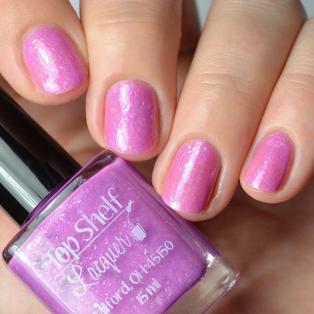orchid nail polish with flakies
