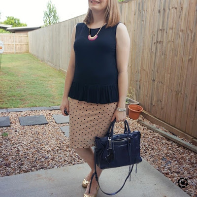 awayfromtheblue Instagram| black zalora peplum tank with blush pink polka dot pencil skirt rebecca minkoff regan bag